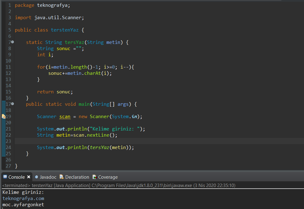 java-metni-tersten-yazdirma-method
